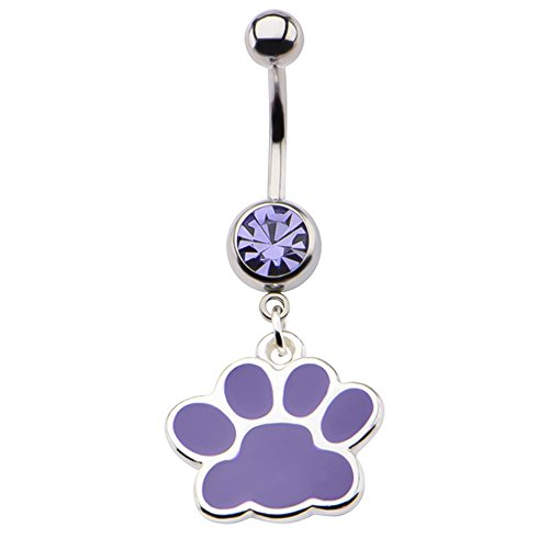 Purple Dog Paw Stainless Steel Dangle Belly Ring