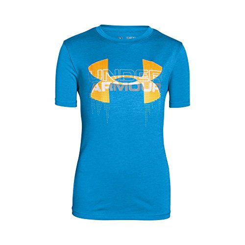 Under Armour Boys' Tech Big Logo Hybrid T-Shirt, Electric Blue (428), Youth Small