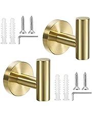 2 Pack Bathroom Towel Hook SUS 304 Stainless Steel Bathroom Wall Hook for Cabinet Closet Door Towel Hook for Bathroom