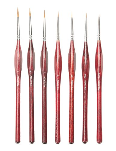 MEEDEN Professional Sable Hair Detail Paint Brush Set - 7 Miniature Art Brushes for Fine Detailing & Art Painting - Acrylic, Watercolor, Oil - Miniatures, Models, Airplane Kits, Nail (Best For Round Frame Face Shape)
