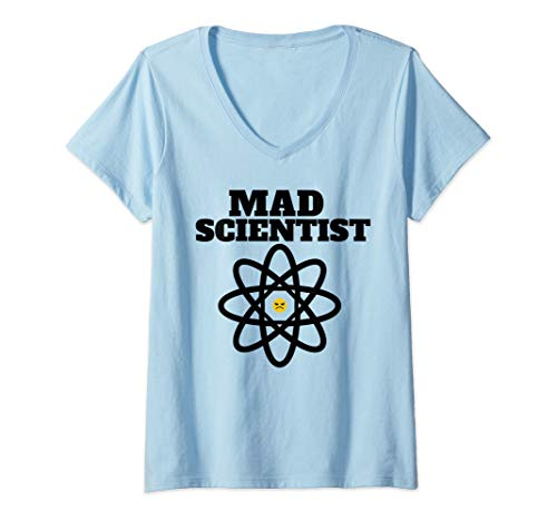 Womens Mad Scientist tee Funny Mad Scientist Atomic Symbol  V-Neck T-Shirt -