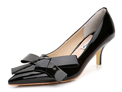 Aisun Women's New Patent Leather Low Cut Pointed Toe Dress Slip On Pumps Bridal Party Stiletto Kitten Heels Shoes With Bows Black 7 B(M) US (Satin Bow Dress Heel Pump)
