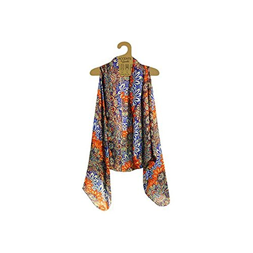 Accents by Lavello Sheer Designer Vest, Cobalt/Orange Persian Print from Accents by Lavello