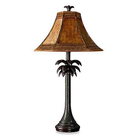Coastal Palm Tree Table Lamp With Rattan Shade