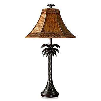 Coastal palm tree table lamp with rattan shade amazon coastal palm tree table lamp with rattan shade aloadofball Images