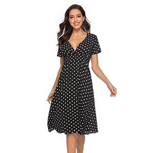 Holiday Bustier - MURTIAL Women's Dress V Ne Holiday Floral Print Dress Ladies Short Sleeve Beach Party Dress(Bla1,L)