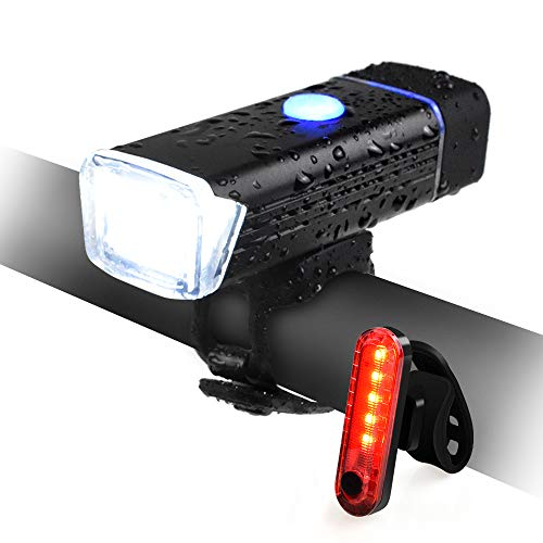 QIANXIANG USB Rechargeable Bike Light,LED Headlight & Set Free Taillight,USB Rechargeable IPX6 Waterproof Super Bright Safety Bicycle Light with 4 Modes for Bicycles, Road, MTB, Scooter
