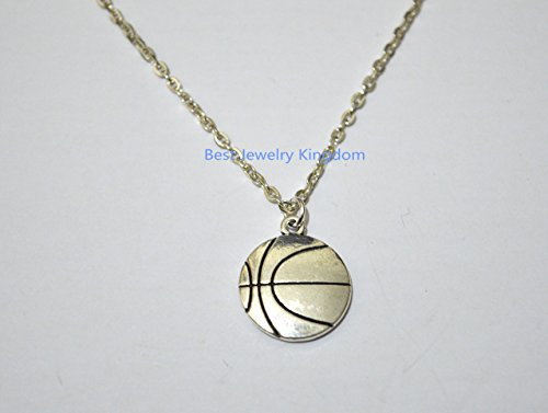 Basketball Necklace, BBall Player Gift, Large Basketball Charm, BFF, Silver Jewelry,Basketball Jewelry Team Gift Ideas Basketball Player Gift best gift Pendant Necklace,Simple Necklace,charm necklace