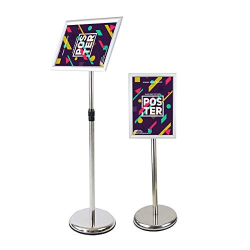 Display Stand Heavy Duty Pedestal Poster Sign Stand Adjustable Aluminum Snap Open Frame for 11