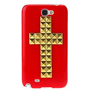 Gold Rivet Crucifix Pattern Hard Back Cover Case for Samsung Galaxy Note2 N7100 --- COLOR:Red