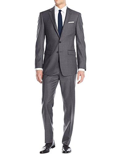LN LUCIANO NATAZZI Men's Two Button Suit Modern Fit Jacket Flat Front Pant Birdseye (36 Short US/46S EU/W 30