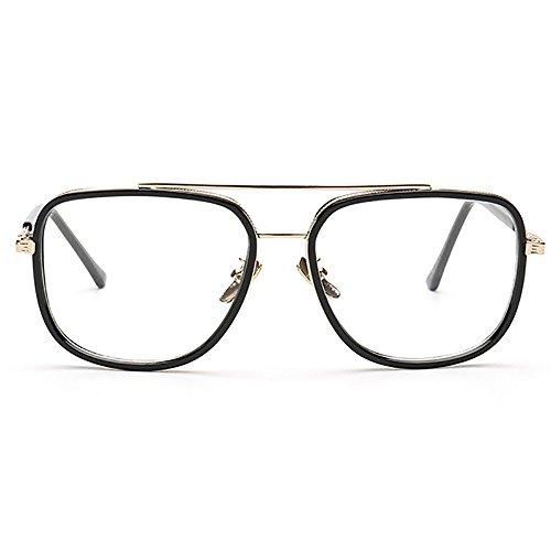 Aviator Transparente Gafas retro metal de Cuadrado Marco Gafas Gafas de de UV400 Oro sol sol rrAqnBT