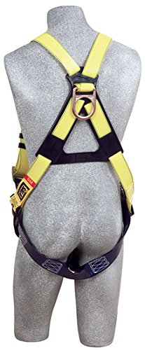 3M DBI-SALA 1110990 Delta Universal Back D-Ring with Resist Web and Tongue Buckle Leg Straps, Yellow