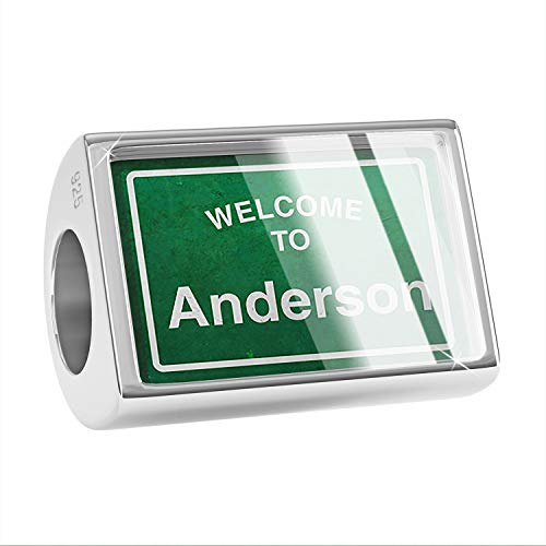 NEONBLOND Charm Green Road Sign Welcome to Anderson 925 Sterling Silver Bead ()