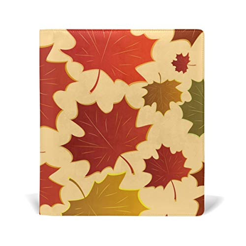 ColourLife Leather Book Covers for Textbooks Hardcovers Elegant Maple Leaves School Books Protector 9 x 11 Inches