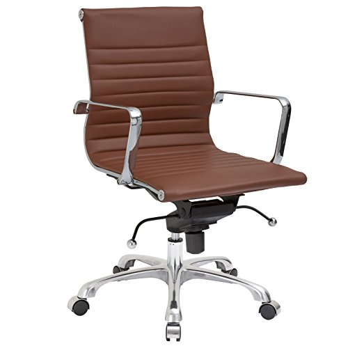 Poly and Bark Ribbed Mid Back Office Chair in (Terra Cast)