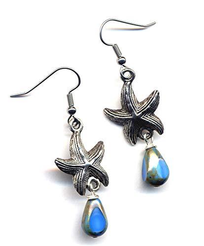Sea star Earrings, Surgical Steel Earrings, Sea Creature Earrings, Antique Silver earrings, Stainless Steel Earrings, Sea Earrings by annaart72