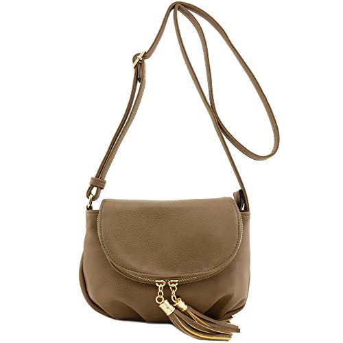 Tassel Accent Small Half Moon Crossbody Bag (Taupe)