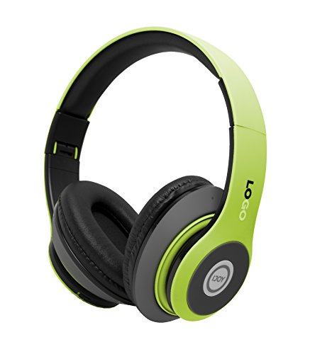iJoy Matte Finish Premium Rechargeable Wireless Headphones Bluetooth Over Ear Headphones Foldable Headset with Mic (SRG-Lime) (Green Bluetooth Headphones)
