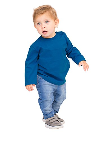 Pulla Bulla Baby Boy Long Sleeve Classic Tee Solid Shirt 6-9 Months Royal Blue - Blue Infant Sweatshirt