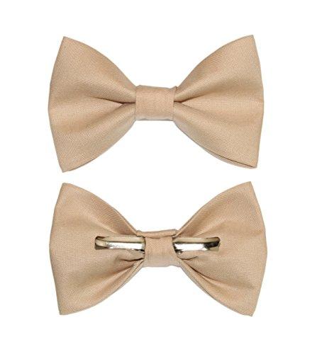 Boys Khaki/Beige Clip On Cotton Bow Tie Bowtie amy2004marie