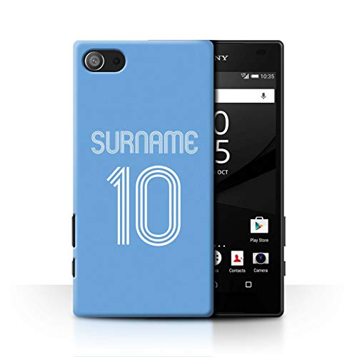 Personalized Custom Soccer Club Jersey Shirt Kit Case for Sony Xperia Z5 Compact/4.6 / Sky Blue Design/Initial/Name/Text DIY Cover
