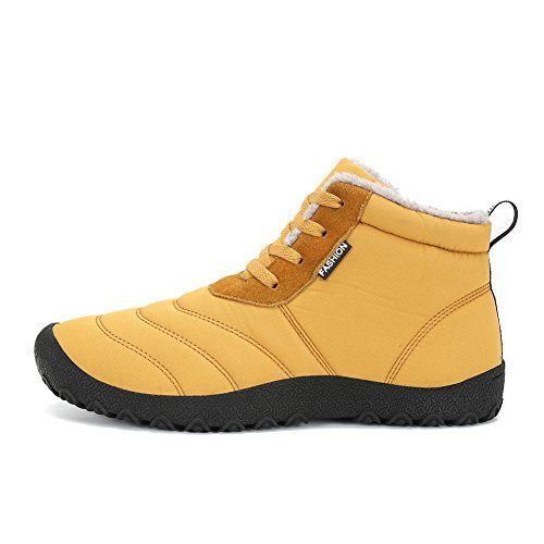 Mens Womens Snow Boots Winter Waterproof Shoes Lace Up Anti-Slip Ankle Bootie Outdoor Shoes With Fully Fur (Yellow, 44)