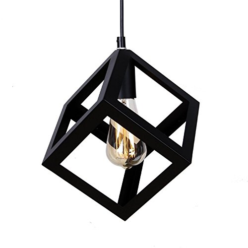 WINSOON 1PC 6.3 X 6.3 X 6.3 Inch Vintage Pandent Industrial Metal Ceiling Light Cage Shade Chandelier Lamp Fixtures Black