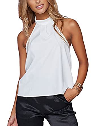 just quella Womens White Bow Back Halter Tops 8706 (XXL, White)