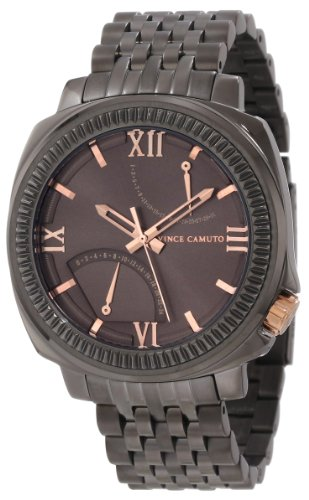 Vince Camuto Men's VC/1002GNDG The Veteran Gunmetal Dial Date Function Rosegold-Tone Bracelet Watch