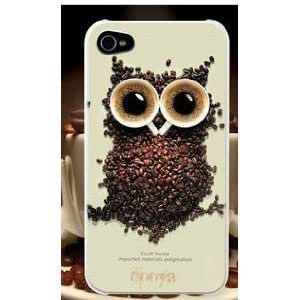 [Buy World] for Iphone 5 Owls Coffee Cup Aluminum Hard Case High Quality White Black Cofee Owl +Screen Protector + Toilet Stand