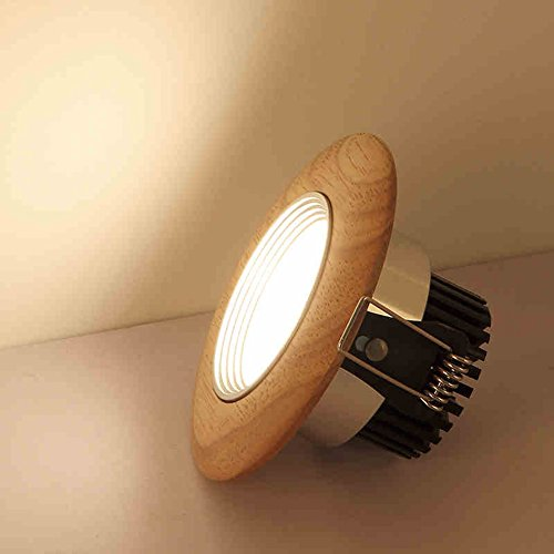2 Pack LED Ceiling Light Downlight Recessed Lighting, Wood and Aluminum Combined, 5W/7W Round Down Light Home Lighting Decoration, Halogen Bulb Replacement (Warm White, 5Watt) by YUELGUANG (Image #1)