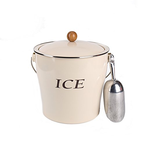 Home by Jackie Inc T686 Cream White 4L Metal Double Walled Ice Bucke Set/Home Kitchen Gifts With Lid/wooden Handle And Scoop by Home by Jackie Inc (Image #5)