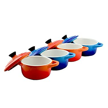 Set of 6 Dowan Colorful Porcelain Mini Cocotte ,3.5 oz, Red & Blue