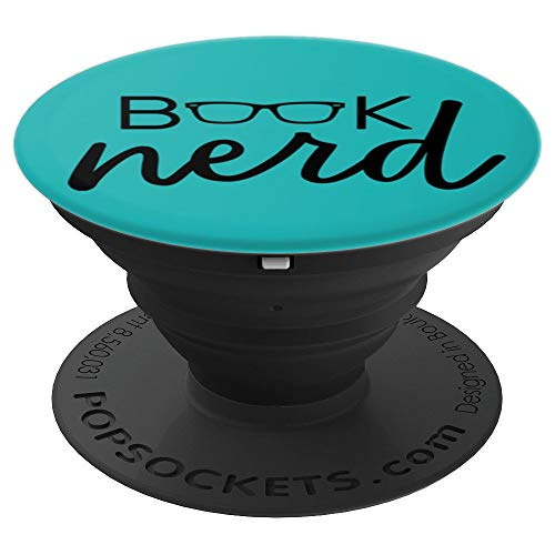 Book Nerd in Teal & Black PACL113c - PopSockets Grip and Stand for Phones and Tablets ()