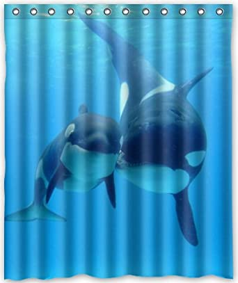 Amazon HOT Design Killer Whale Orca Shower Curtain 60w X 72