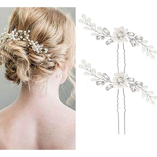 5fcb7180bf55 Unicra Bride Wedding Pearl Hair Pins Bridal Flower Hair Pieces Accessories  for Women and Girls Pack of 2. by unicra