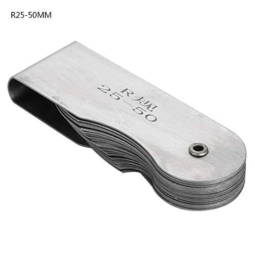 - Radius Fillet Gauge Stainless Steel External Internal Concave Convex Measuring Tool(R25-50MM)