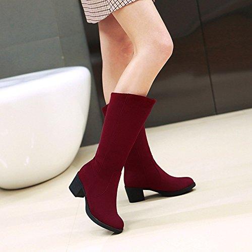 Aisun Damen Klassisch Runde Zehen Blockabsatz Ohne Verschluss Langschaft Stiefel Rot