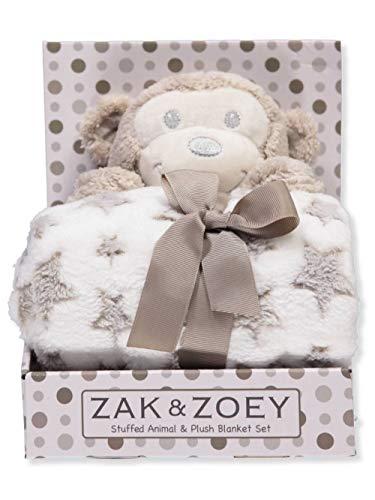Zak and Zoey 2 Piece Warm Plush 30 X 30 Baby Security Sleep Blanket Stuffed Animal Set Beige Monkey