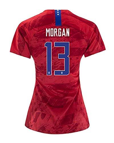 Morgan #13 2019-2020 USA National Team Women's Away Soccer Jersey (S) Red