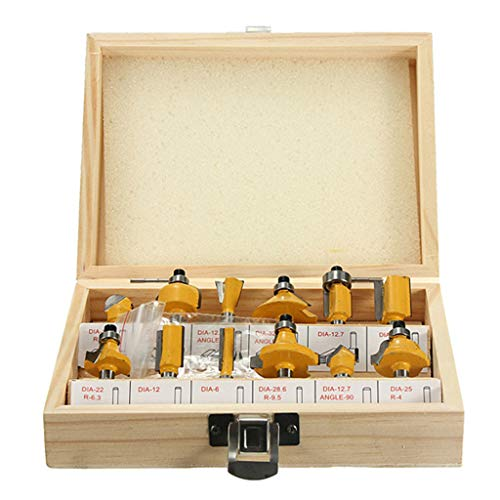 UMFun 12PC 1/4'' Professional Shank Tungsten Carbide Router Bit Set with Wood Box Case Yellow]()