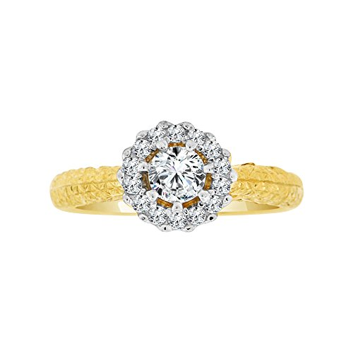 14k Yellow Gold, Lady Fancy Engagement Ring Round Created CZ Crystals 0.75ct Size 7.5 by GiveMeGold (Image #3)