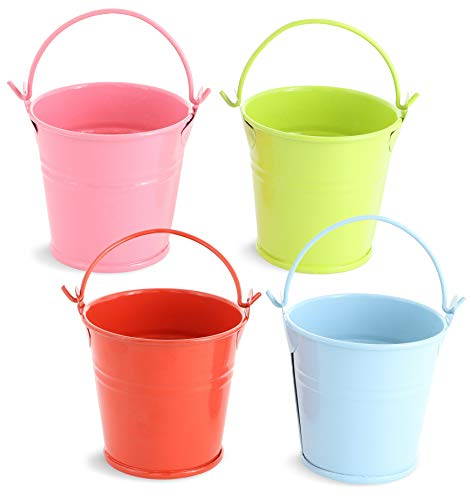(Juvale 48-Count 2-Inch Mini Metal Tin Bucket Pails with Handles for Party Favors, Succulents, 4)