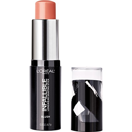 L'Oreal Paris Makeup Infallible Longwear Blush Shaping Stick, Up to 24hr Wear, Buildable Cream Blush Stick, 46 Cheeky Dimension, 0.3 oz.