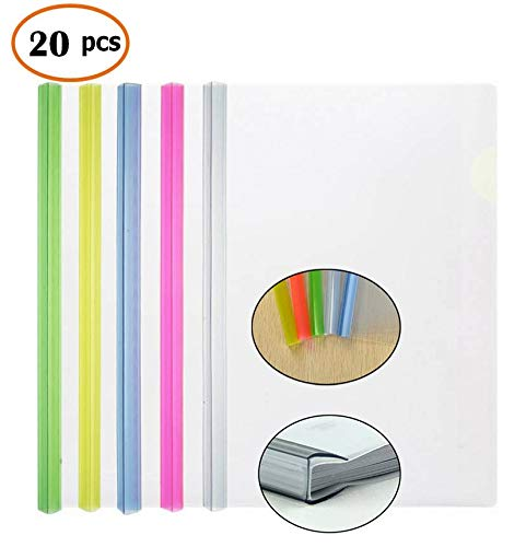 - Transparent Plastic File Folder Sliding Bar Report Covers (with Thicker Sliding Bar,90 sheet capacity), Transparent Resume Presentation File Folders Organizer Binder For A4 Size Paper, 5 Color 20 Pcs