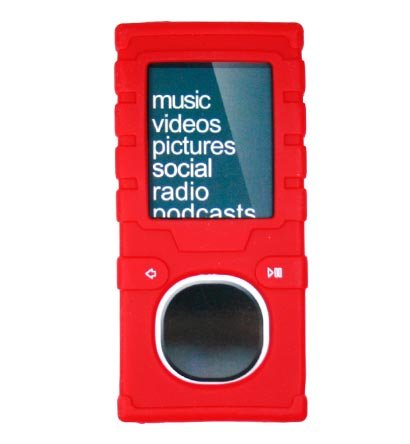 PCMICROSTORE Brand (2nd Generation) Microsoft Zune 4GB 8GB Premium Silicone Skin Case with 14 Inch Adjustable Sports Armband - 6 Color Choices - (VER2.0-RED)