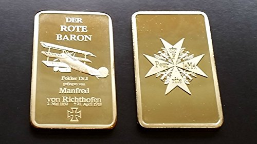 The 1 Oz .999 Pure 24 Karat Gold Layered Steel Bar The German Prussian RED BARON Fighter 1892-1918 and Blue Max - Grace Specialty 023