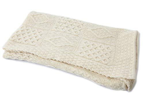 (Biddy Murphy Home Decor Irish Wool Blanket Aran Sweater Knit 100% Wool Throw Blanket 54