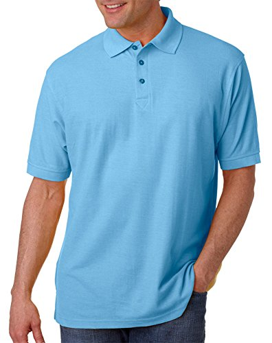 UltraClub Men's Whisper Fit Pique Polo Shirt, Baby Blue, Large